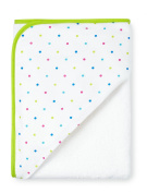 Hooded Towel, White with Lime Green trim and Dotty Hood, Large Size