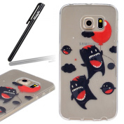 Samsung Galaxy S6 Edge Case,Samsung Galaxy S6 Edge Transparent Silicone Cover,Ukayfe Ultra Thin Clear Soft Gel TPU Silicone Case Cover with Cute Cartoon Devil Balloons Pattern for Samsung Galaxy S6 Edge with 1 x Black Stylus