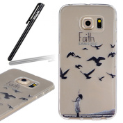 Samsung Galaxy S6 Edge Case,Samsung Galaxy S6 Edge Transparent Silicone Cover,Ukayfe Ultra Thin Clear Soft Gel TPU Silicone Case Cover with Faith Black Bird Pattern for Samsung Galaxy S6 Edge with 1 x Black Stylus