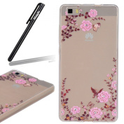Huawei P8 Lite Case,Huawei P8 Lite Transparent Silicone Cover,Ukayfe Ultra Thin Clear Soft Gel TPU Silicone Case Cover with Pink Flower and Butterfly Pattern for Huawei P8 Lite with 1 x Black Stylus