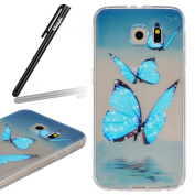 Samsung Galaxy S6 Case,Samsung Galaxy S6 Transparent Silicone Cover,Ukayfe Ultra Thin Clear Soft Gel TPU Silicone Case Cover with Blue Butterfly Pattern for Samsung Galaxy S6 with 1 x Black Stylus