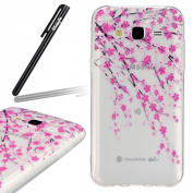 Samsung Galaxy J5 Case,Samsung Galaxy J5 SM-J500F Transparent Silicone Cover,Ukayfe Ultra Thin Clear Soft Gel TPU Silicone Case Cover with Peach Blossom Flowers Pattern for Samsung Galaxy J5 SM-J500F with 1 x Black Stylus