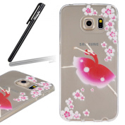 Samsung Galaxy S6 Edge Case,Samsung Galaxy S6 Edge Transparent Silicone Cover,Ukayfe Ultra Thin Soft Gel TPU Silicone Case Cover with Dancing Girl Pattern for Samsung Galaxy S6 Edge with 1 x Black Stylus