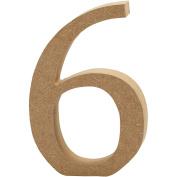 Number, H: 8 cm, MDF, 6, 1pc