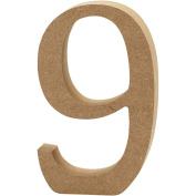 Number, H: 8 cm, MDF, 9, 1pc