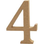Number, H: 8 cm, MDF, 4, 1pc