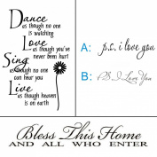 JoyGood DIY Stickers Black P.S. I Love You & Dance love sing live & Bless This Home and All Who Enter Wall Decals Vinyl Wall Art Decor Home