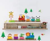 woodland animal train wall stickers nursery wall art decor lovely baby animal children's bedroom playroom wall decor removable PEEL & STICK