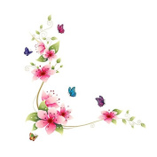 Blossom Flowers Butterfly Wall Sticker Garden Wall Art Decal Decor DIY Vinyl Removable Wall Posters for Home, Washroom, Living Room, Bedroom