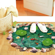 PVC 3D Lotus Goldfish Pool Floor Stair Sticker at the Door Room Decor Creative Doormat Art