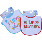 I Love Mummy & Daddy Colourful Cotton Baby Bibs (Set of 2)