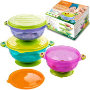 Best Baby Bowls, Spill Proof, Stay Put Suction Bowls with Seal-Easy Lids Stack Easy For Storage Gift Set of 3 Colourful Sizes Perfect for Babies & Toddlers BPA & BPS Free FDA Approved -BabieB