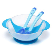 Kungfu Mall Cute Children Kids Baby Learning Bowl Dishes With Suction Cup And Sensing Spoon Set