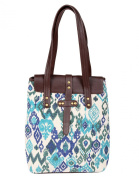 Vinatge Shoulder Bag Cotton Durrie Faux Leather Off White Hand Block Printed