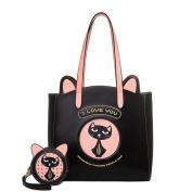 FAIRYSAN Women Shoulder Bag Cat Pattern Shopping Tote Bag Large Travel Bag Black