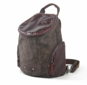 Lixmee Barrel Shaped Leather Canvas Zippered Backpack