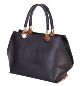 Real Black Leather Bags For Womens Fox High Quality Grab handles Zip Top Handbag