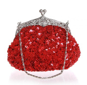 Women's Sequins and Beads Embroidered Antique Evening Party Clutch Bag Wedding Purse Handbag