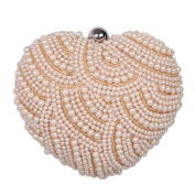 Chirrupy Chief Heart Shape Pearl Beaded Women Evening Clutch Bag