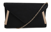 WOMENS FAUX LEATHER EVENING CLUTCH GOLD TRIM SIDES GOLD SHOULDER CHAIN HANDBAG