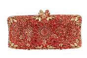 Yilongsheng Dazzling Long Square Ladies Evening Clutch Bags with Floral Leaf Rhinestones
