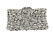Yilongsheng Women's Shiny Beaded Clutch Bags with Dazzling Flower Crystal Diamonds
