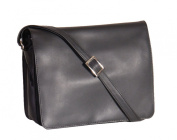 Womens shoulder leather bag A53 Black LARGE cross body Flap Over work bag