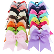 YiZYiF 20 Pcs/Set Baby Girls Big Bow Grosgrain Ribbon Hair Bow Elastic Bobbles