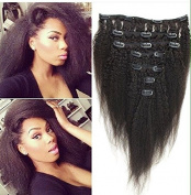 Sexyqueenhair Italian Yaki Kinky Straight Full Head Clips in Hair Extensions 46cm 7pcs per Set