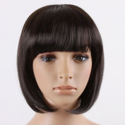 Reelva DARKEST BROWN Women's Girl's Cosplay Short Synthetic BOB Hair Wigs Full Hair Extensions Wigs 100% Kanekalon Fibre