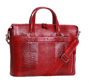 Womens Leather Briefcase Business Tablet Shoulder Work Organiser Bag A5331 Red