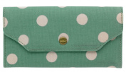 Cath Kidston New Button Spot Card Wallet With Zip Purse In Green
