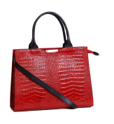 Womens Luxury Croc Finish Leather handbag A51 Red NEW High Quality Ladies Bag