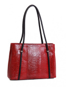 Womens Latest Croc Finish LEATHER handbag A282 Red Ladies Classic Shoulder Bag