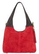 Handbag Bliss Italian Suede & Leather Slouch/Shoulder Bag Wide Handle With Tassel Trim New Arrival 2016 -