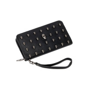 VORCOOL Skull Rivet PU Leather Wallet Long Purse Zipper Handbag
