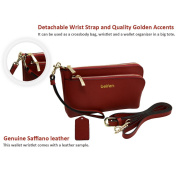 Belfen Genuine Saffiano Leather Wristlet Wallet Clutch Women Smartphone Cross Body Wallet with Card slots/Shoulder strap/Wrist Strap-for Cellphone Up to 6 x 3.1*0.8cm -Red