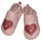 Spatzl Crawling Shoes Step Shoes Leather Anna and Paul Slippers Pink Leather Sole - Size