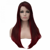 Wine Red Mix Long Straight Side Parting Full Wigs Women Cosplay Lolita Hair