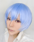 LanTing Cosplay Wig Neon Genesis Evangelion/EVA Ayanami Rei Blue Frauen Cosplay Party Fashion Anime Human Costume Full wigs Synthetic Haar Heat Resistant Fibre