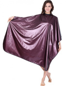 WM Beauty Professional Water Repellent Adjustable Hair Salon Cape with Snaps Closure, Wine