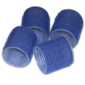 4 EXTRA LARGE BLUE SOFT hook and loop PLASTIC FOAM CURLERS STYLING ROLLERS HAIR HAIRDRESSING