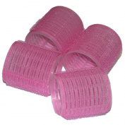 4 EXTRA LARGE PINK SOFT hook and loop PLASTIC FOAM CURLERS STYLING ROLLERS HAIR HAIRDRESSING