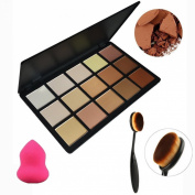 Tinabless 15 Colour Contour and Highlight Palette Kit - Professional Face Powder Foundation Palette - Beauty Cosmetics Tools Makeup Camouflage Bronzer and Concealer Kit - Make Up Contouring and Highlighting palette + Multifunction Oval Toothbrush Shape ..