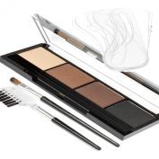 Eyebrow Powder kit Palette 4 Shades Light- Dark plus 6 Eyebrow Shaping Stencils, Eyebrow Applicator Brush/Comb
