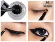 Wispun women beauty waterproof black eye liner shadow gel make up cosmetic +brush
