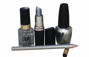 4pc Bright Silver Lipstick & Lipliner with Fine Glitter Varnish & Solid Silver Nail Varnish