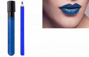 2pc Denim Blue Matt Lip Colour Lipstick Lip Wand Set with Lipliner