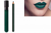 2pc Deep Green Matt Lip Colour Lipstick Lip Wand Set with Lipliner