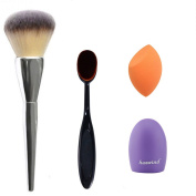 Huewind® Makeup Brush, Oval Cosmetic Cream Powder Blush Makeup Tool, Glove MakeUp Washing Cleaning Brush Scrubber Board and Light Orange Makeup Sponge Puff - A MONEY SAVING SET